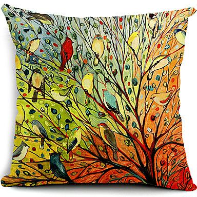 Cotton/Linen+Pillow+Cover+,+Nature+Modern/Contemporary+–+AUD+$+20.01