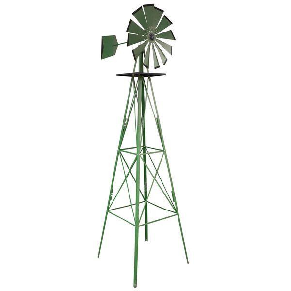 8' Steel Metal Garden Outdoor Yard Windmill Decor Art Country Farm Tools Statue