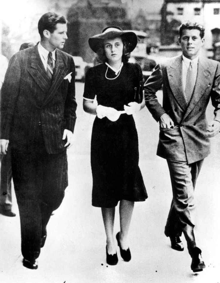 Joseph P. Kennedy Jr., Kathleen Kennedy, and John F. Kennedy, sons and daughter of United States Ambassador to England Joseph P. Kennedy Sr., arrive at the House of Parliament in London to hear Prime Minister Chamberlain's announcement that a state of war existed between England and Germany, September 1939.
