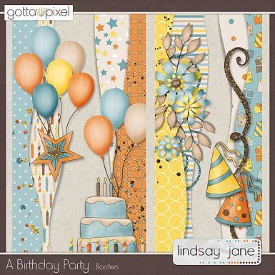 A Birthday Party Digital Scrapbook Borders. $2.00 at Gotta Pixel. www.gottapixel.net/