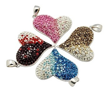 Swarovski Crystal Charms. Cute charms. These could easily be made with a few Swarovski Flat Back crystals. I'm guessing it would take at least 800 SS6 crystals. Wholesale should cost you around 40 bucks without the charm.