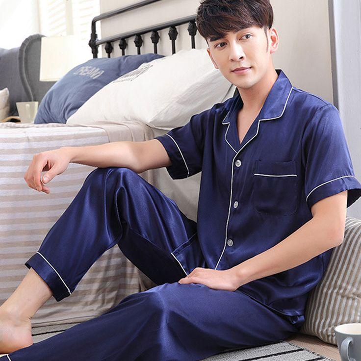2017 autumn men silk pajamas sets of sleepshirt & trousers adult sleepwear man loungewear plus #Affiliate