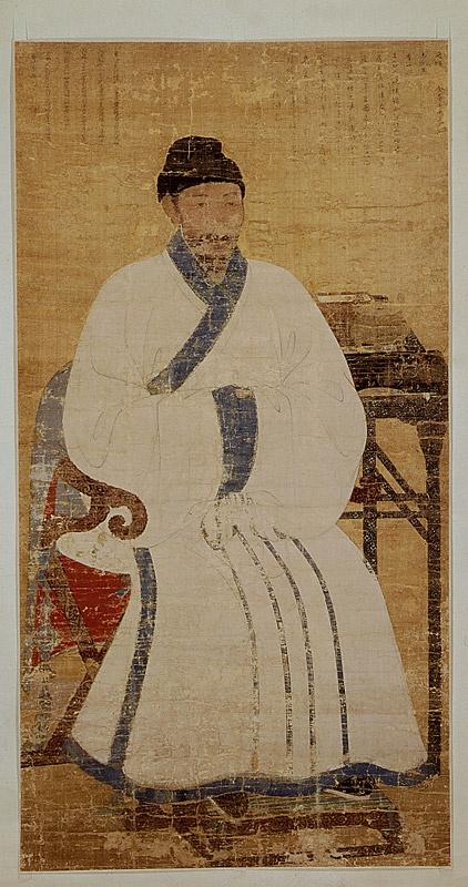 익재 이제현(1287∼1367)의 초상화/진감여/1319  의자에 앉은 모습을 비단에 채색하여 그렸다. 그림 위쪽에는 원나라 문장가인 탕병룡이 쓴 찬과 잃어버린 줄 알았던 이 그림을 33년 만에 다시 보고 감회를 적은 익재의 글이 있다. 대부분의 초상화가 오른쪽을 바라보는데 비해 왼쪽을 바라보고 있으며 비단 테를 두른 흰 베로 짠 옷을 걸치고 두 손은 소매 안으로 마주 잡고 있다. 선생의 왼편 뒤쪽에는 몇권의 책이 놓인 탁자가 있고, 오른편 앞쪽으로는 의자의 손잡이가 있어 앉은 모습이 안정되어 보이며, 화면구성도 짜임새 있다. 채색은 색을 칠한 다음 얼굴과 옷의 윤곽을 선으로 다시 그렸는데 부분적으로 표현을 달리 하여 날카롭지 않고 부드러워 보인다. 그림의 색감은 오랜 세월이 지나 변색된 듯하나 차분한 느낌을 준다.
