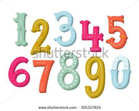 Hand drawn vintage numbers set