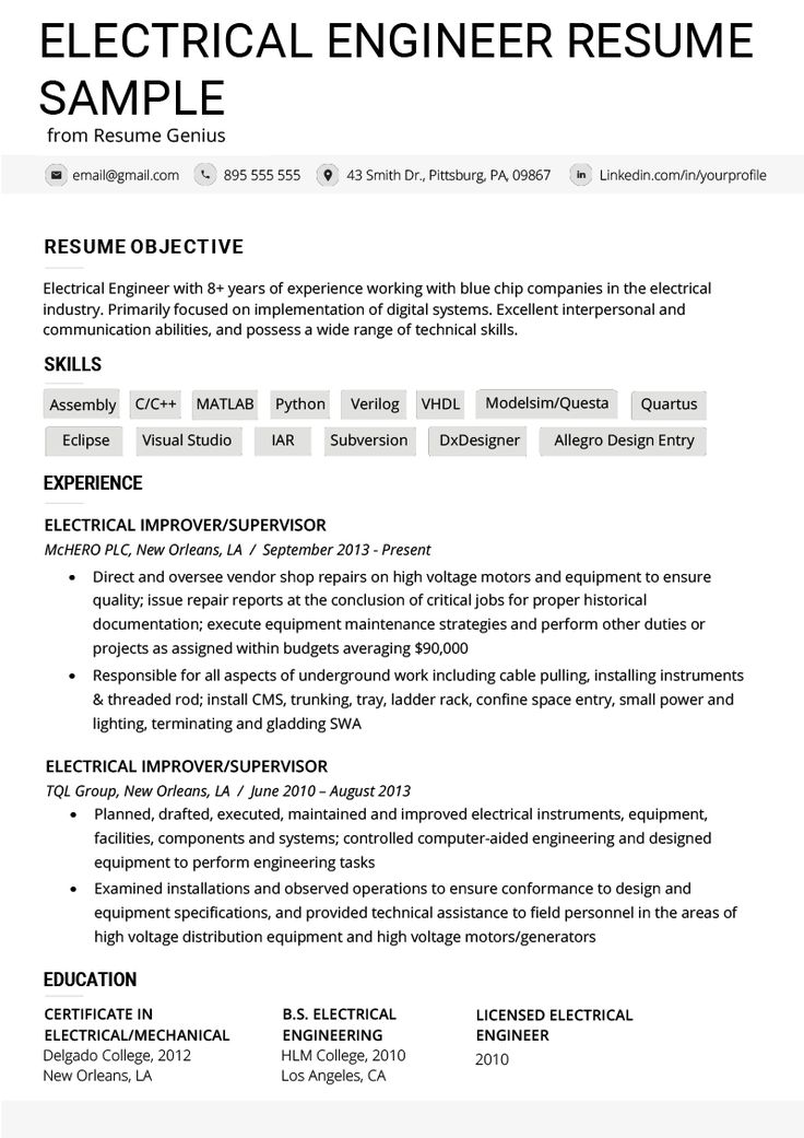 Electrical engineer resume example writing tips