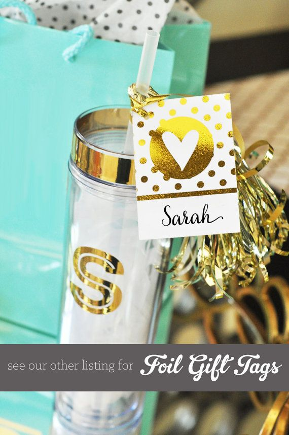 bridesmaid monogram tumblers for a tiffany theme bridal shower gift by mod party