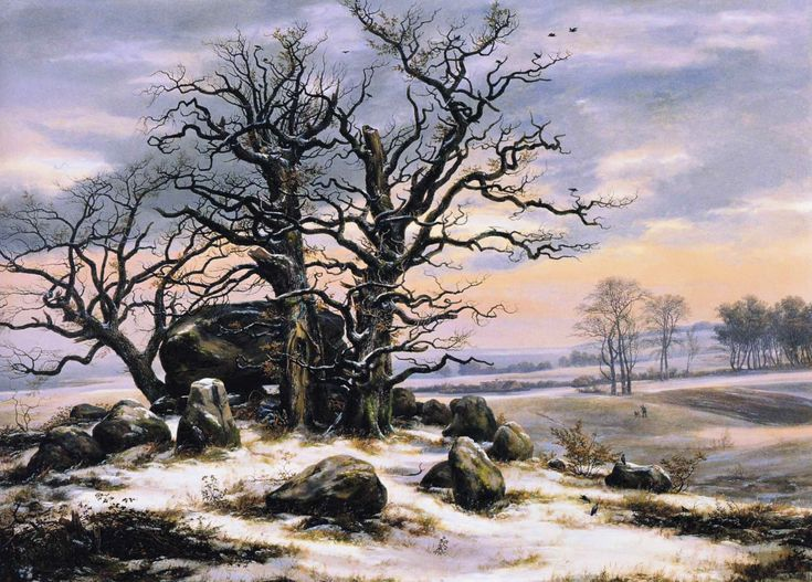 Johan Christian Dahl - Megalith Grave in Winter (1824-1825)  Huile -  Dimensions: 75 x 106 cm,