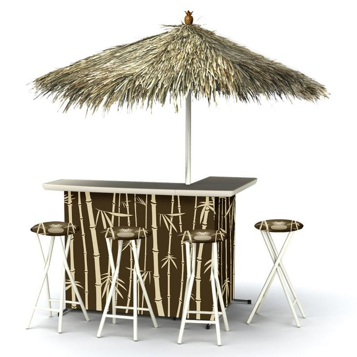 Outdoor Kitchen Tiki Bar: Best Of Times Indoor/Outdoor Portable Bar With 4 Barstools