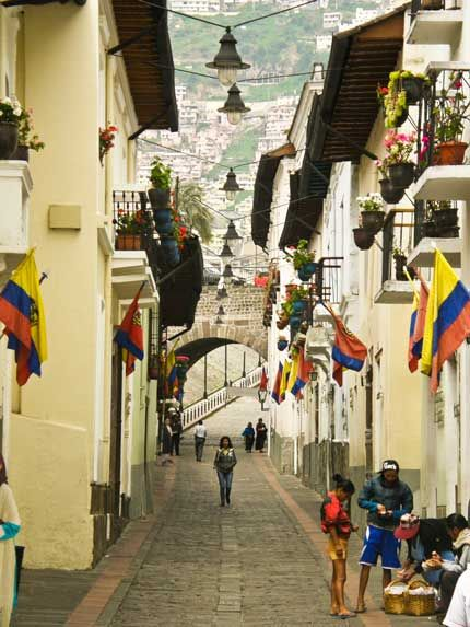 La Rhonda or Calle Morales - a beuatiful pedestrian street in Quito, Ecuador full of art shops and cafes.
