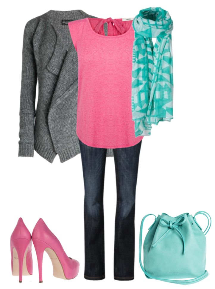 This color triad color scheme comes straight from the cool summer color palette. Cool summer's pink is cool and slightly muted. Forming a triangle with this pink on the color wheel is a light turquoise. Very pretty. I kept the look cool with a nice medium grey cardi.  Have fun and wear what
