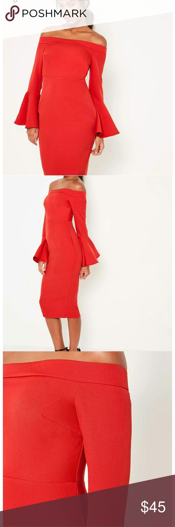 red bardot mid dress it's tailored sleeves will give you all the attention. love this dress is have in all sizes price negotiable Lei's FASHION BOUTIQUE Dresses Midi