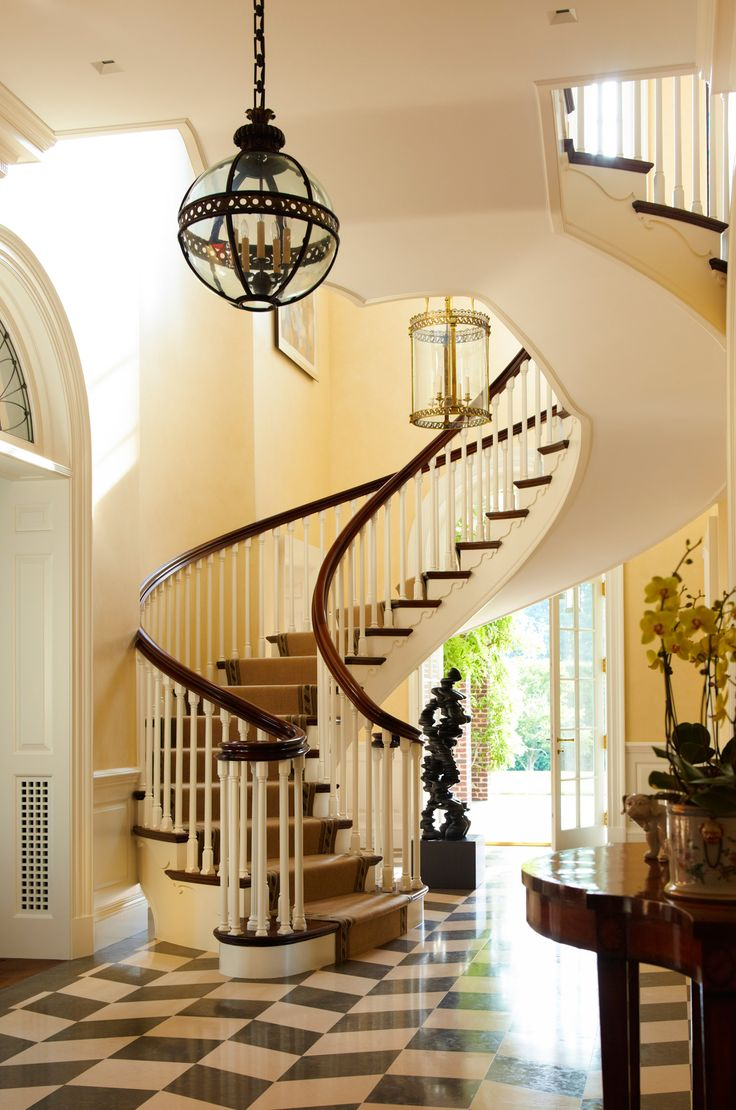 Horse country estate by cullman kravis entries hallways for House plans with curved staircase