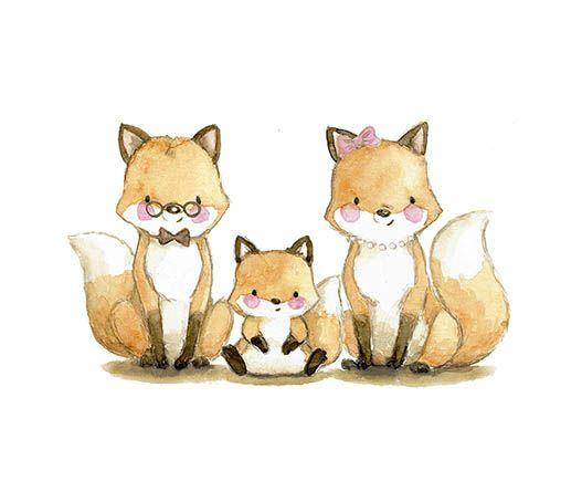 Ilustracion infantil familia zorros