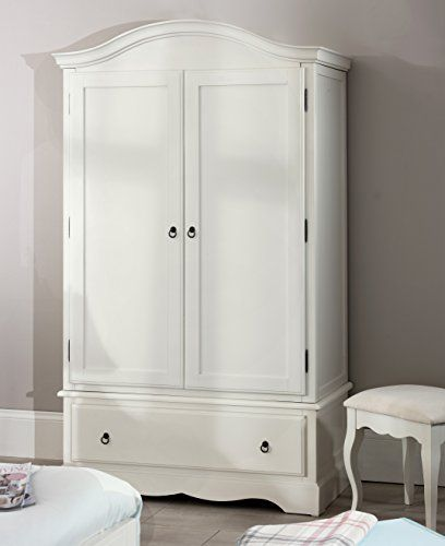 Romance Double Wardrobe, Stunning French Antique White wardrobe with large drawer