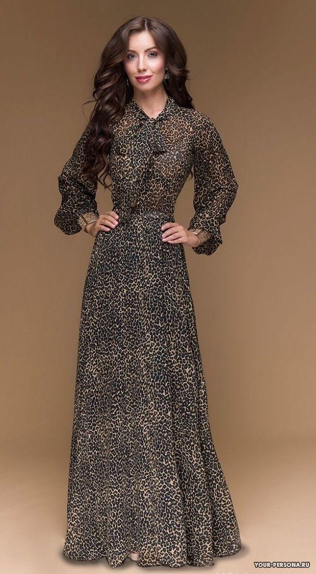 Длинное леопардовое платье