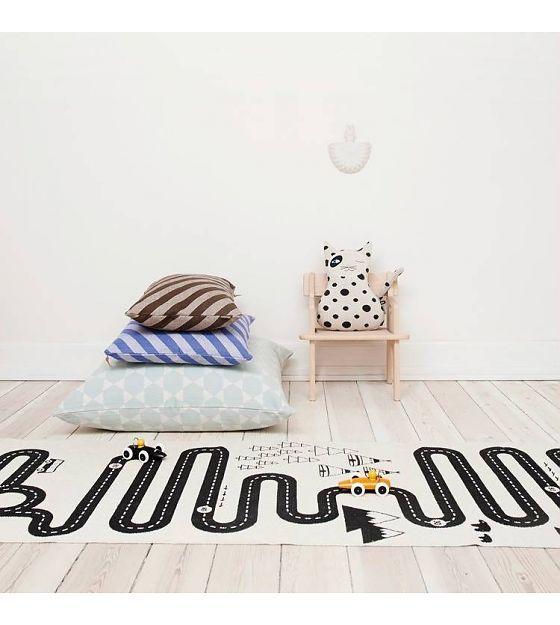 OYOY Vloerkleed Adventure Rug wit zwart katoen 180x70cm - wonenmetlef.nl