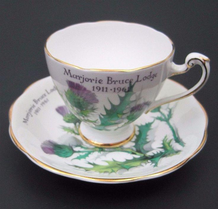 Vtg Roslyn Teacup Saucer Queen Highlands Marjorie Bruce Lodge Scotland Thistle #Roslyn