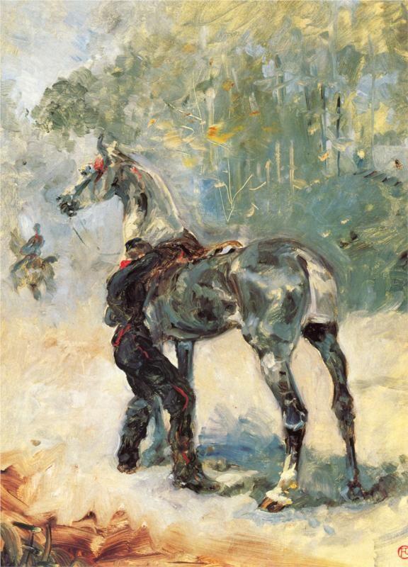 Artilleryman Saddling His Horse, 1879