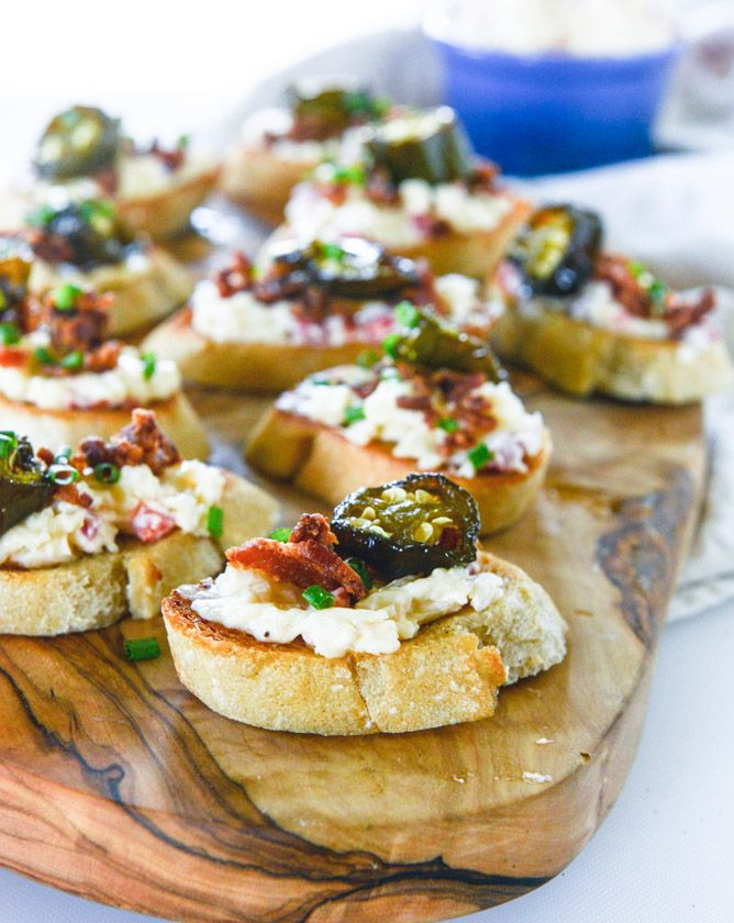 bacon ciabatta crostini with pimento cheese and candied jalapeños I howsweeteats.com