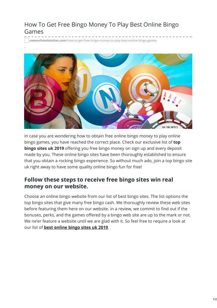 How To Get Free Bingo Money To Play Best Online Bingo Games