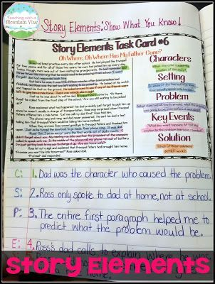 Using task cards to teach story elements.
