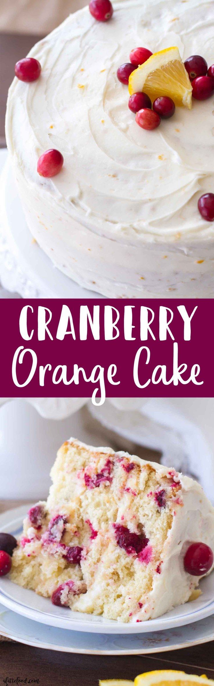 This easy cranberry orange cake is the perfect Christmas dessert! Loaded with cranberries and sweet orange flavor, this homemade cranberry orange cake recipe is a family favorite! Plus, this is topped with an orange cream cheese frosting that is rich, creamy, and ultra-delish! #wineglasswriter