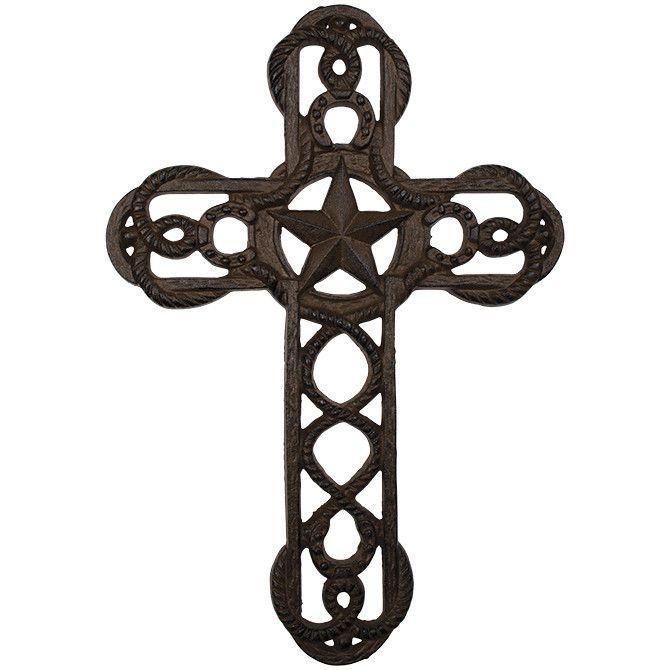 Texas Star Horseshoe And Rope Cast Iron Wall Cross