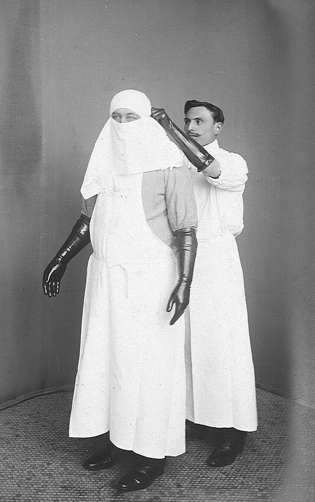 Dr. Eugène Doyen wearing a sterile dress. Dr. Doyen (1859 – 1916) was a French surgeon who introduced several surgical techniques and medical instruments, and was a pioneer in the use of electrosurgery and electrocoagulation.