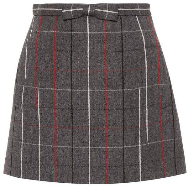Miu Miu Check Wool Miniskirt ($1,200) ❤ liked on Polyvore featuring skirts, mini skirts, bottoms, grey, short grey skirt, grey skirt, short skirt, woolen skirt and checked skirt
