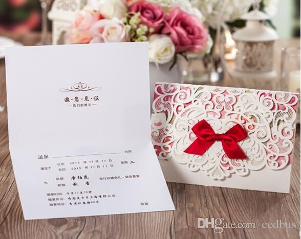 Online Wedding Invitation Cards 2015 Unique Fast Shipping New Chinese Wedding Invitations Hollow Out Style Personalized Invitations Custom Printing Cw5079 Vietnamese Wedding Invitations From Ccdbus, $68.07  Dhgate.Com