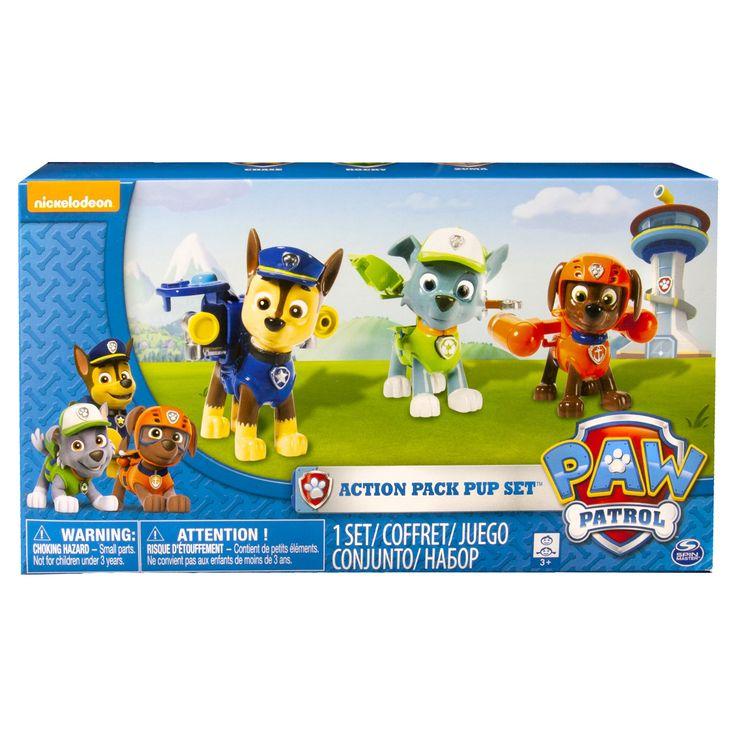 Paw Patrol - Chase, Rocky, Zuma Action Pack Pups Figure Set 3pk