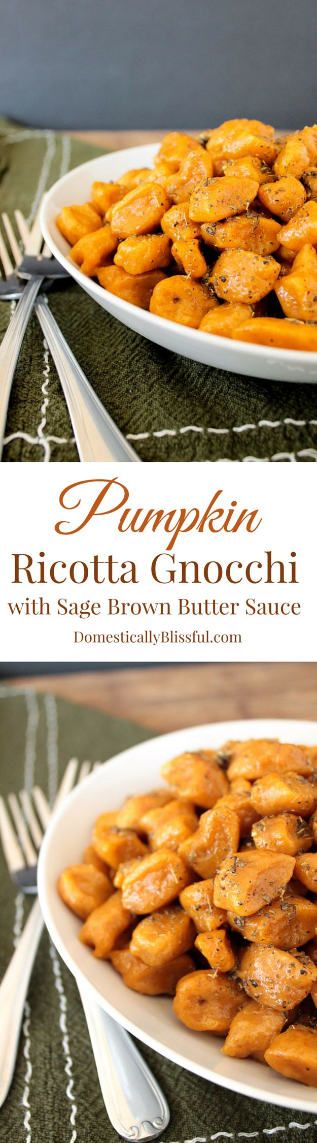 Pumpkin Ricotta Gnocchi with Sage Brown Butter Sauce recipe from Domestically Blissful