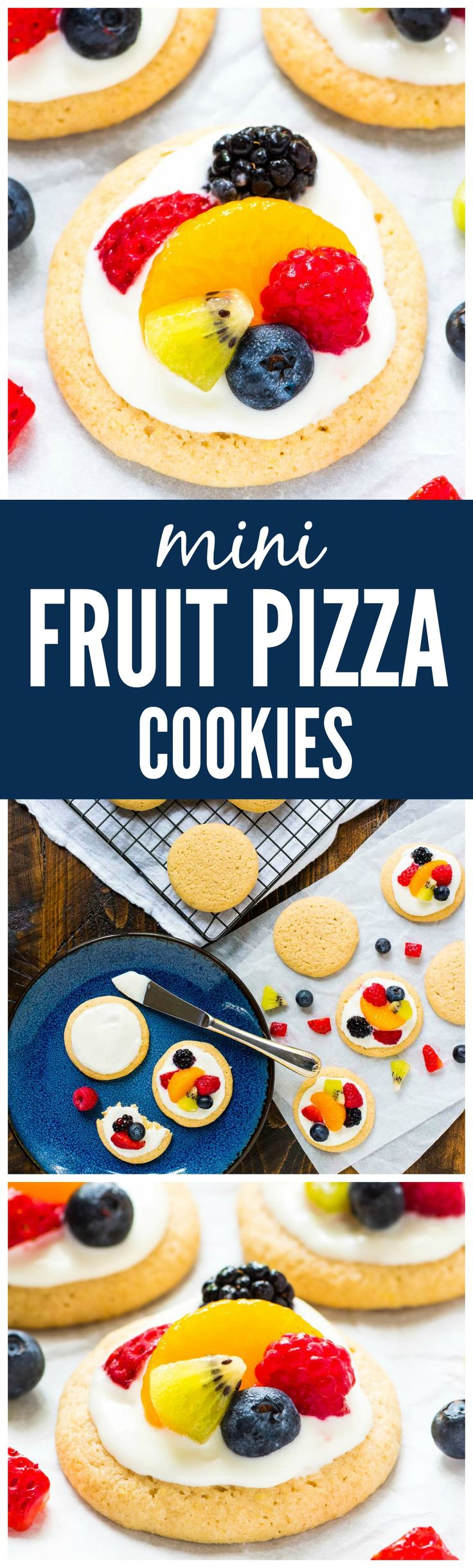 Mini Fruit Pizza Cookies. Such a cute twist on a classic summer dessert! Soft, buttery sugar cookies topped with sweet cream cheese frosting and fresh fruit. Simple and delicious! Recipe at wellplated.com @wellplated