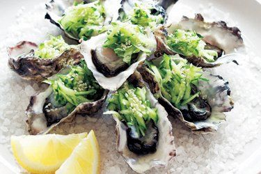 Oysters with cucumber salad