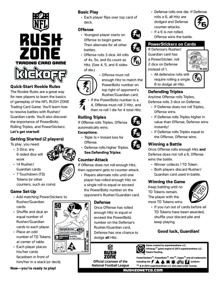 Play the NFL RUSH ZONE Trading Card Game Quick Start