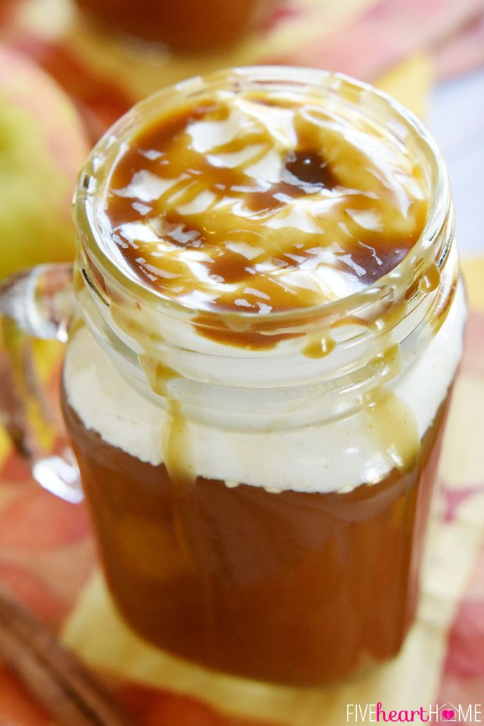 Caramel Apple Cider ~ this copycat of a Starbucks Caramel Apple Spice tastes like warm apple pie topped with vanilla ice cream...in a mug! |…