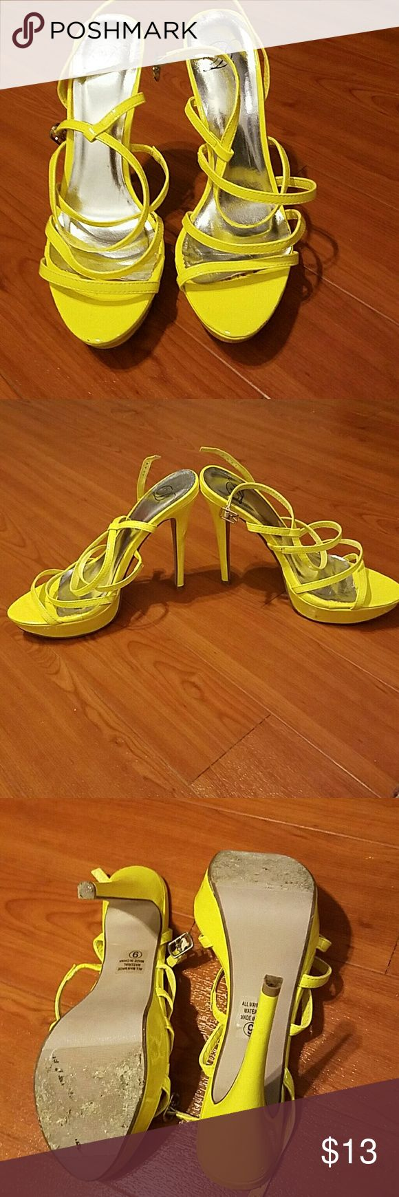 "*Final Price* Yellow Strappy Heeled Sandles.  EUC Yellow Strappy Heeled Sandles.  EUC  5"" heel. 1"" platform Shoes Heels"