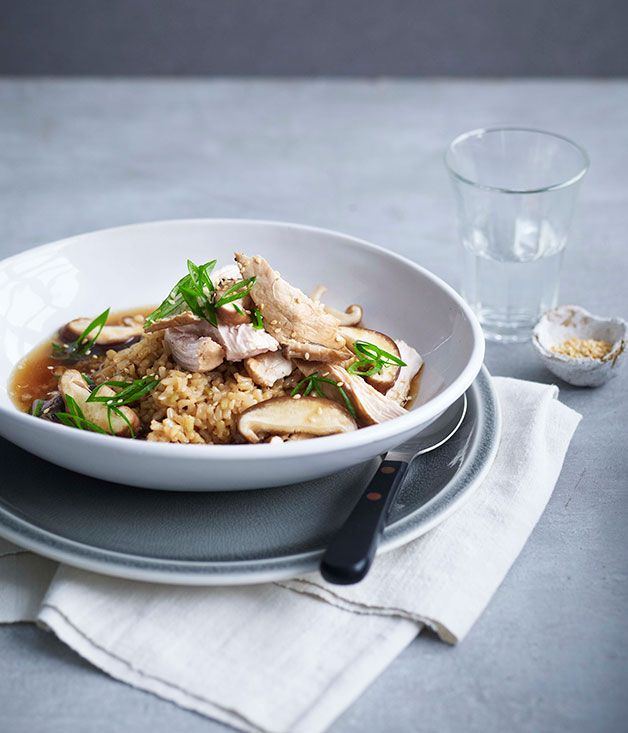 Soy-poached chicken, brown rice and shiitake mushrooms recipe | Gourmet Traveller recipe - Gourmet Traveller