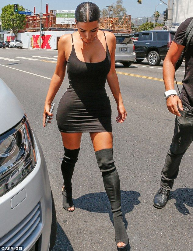His biggest fan: Kim is rarely seen in any footwear that hasn't been designed by her husband Kanye West