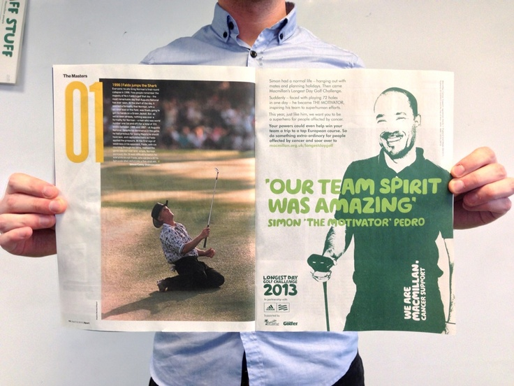 Our 'Longest Day Golf Challenge' advert made it into Sport. Right next to an article on the Masters.