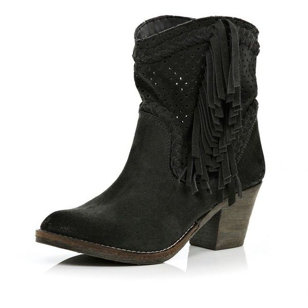 River Island Black perforated tassel western ankle boots (51 CAD) found on Polyvore featuring women's fashion, shoes, boots, ankle booties, kengät, cowgirl boots, leather ankle boots, ankle boots, black leather boots and black booties