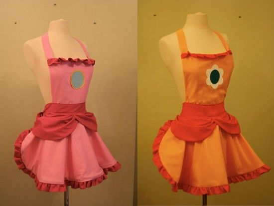 Nintendo and Powerpuff Girls aprons from Etsy seller DarkBalloons | Offbeat Home