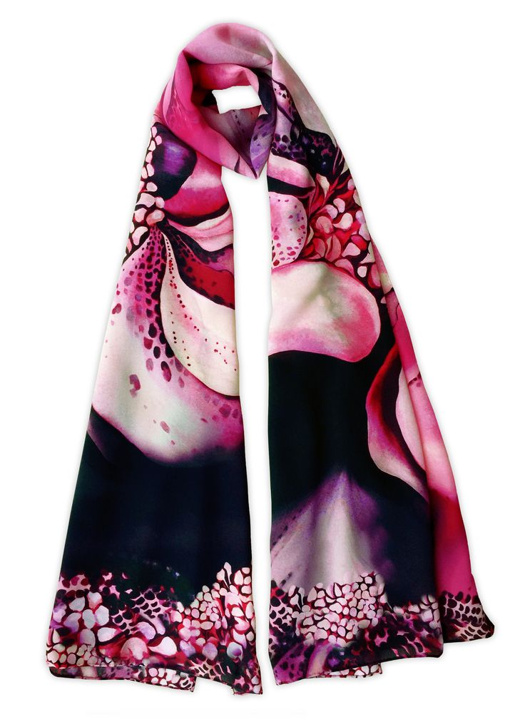 Shop the 'Cameilla' Luxury Silk Long Scarf online. All Leanne Claxton scarves are taken from a series of oil painted canvases by the artist, which are digitally transformed and printed onto 100% silk. View our Winter 2016 Digital collection, available in a range of colours, styles and sizes, at www.leanneclaxton.com
