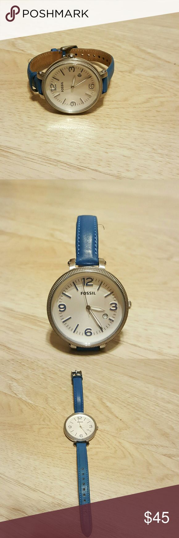 Fossil  Boyfriend Watch Boyfriend Watch has a large face. Blue leather band. White face with blue numbers outlined in silver.  Wore a few times. The face has minimal scuff marks. Needs batteries. Fossil Accessories Watches