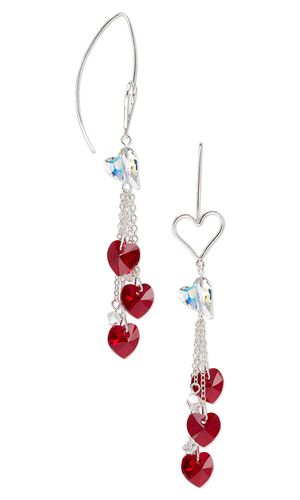 Earrings with SWAROVSKI ELEMENTS and Sterling Silver Chain - Fire Mountain Gems and Beads