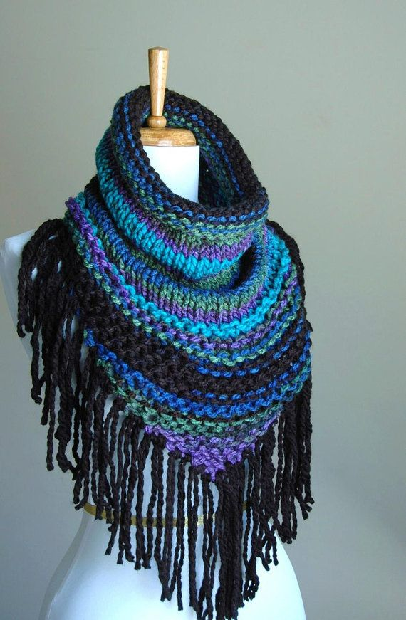 Black Blue Purple Knit Triangle Cowl with Fringe - Chunky Scarf with Fringe in Aqua Green Purple Cobalt Blue Black
