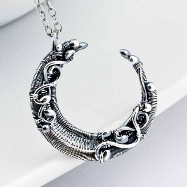 Fine Silver Crescent Moon Pendant by sarahndippity on Etsy