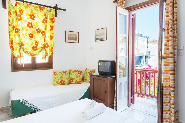 """Open your window to the bright sun of Mykonos! Wave """"good morning"""" to locals and visitors. You are in Alana Pension, in the centre of Mykonos Town. Book on line now at http://goo.gl/eUge6T  #mykonos #mykonosisland #greece #aegean #apartment #summer2016 #alanamykonostown"""