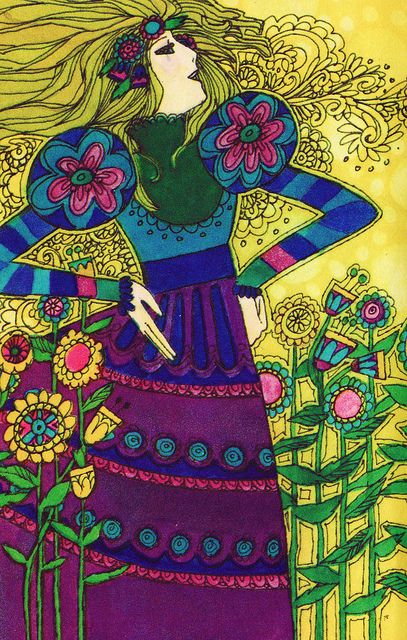 """Feelin' Groovy    It was the 1970s. Grooviness was in. And big hair, tunics, doves, and maxi skirts were de rigueur.    Detail of an illustration from """"Tell Me That I Love You,"""" Three Love Poems by Kenneth Patchen, illustrations by Fred Klemushim, Hallmark Books, 1973. The poems were copyrighted in 1942."""