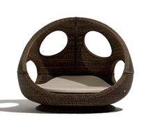 SB-(251) rattan mobiliário de exterior oval duplo sol cama com dossel